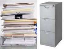 File cabinets and papers